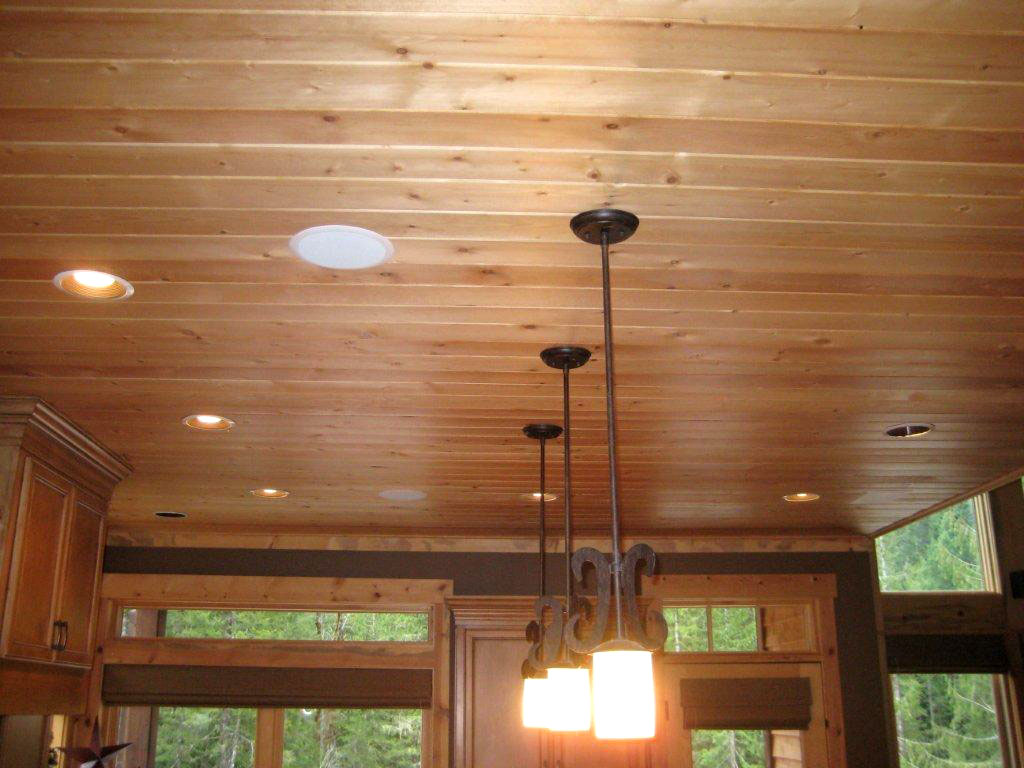 Pine ceiling boards for T g roof decking
